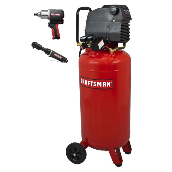 Craftsman 1.5-HP 26-Gallon Portable Air Compressor w/ Impact Wrench & Ratchet