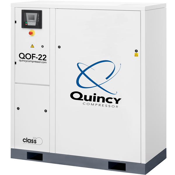 Quincy QOF 22-HP Oil-Free Tankless Scroll Compressor w/ Dryer (460V 3-Phase 145 PSI)