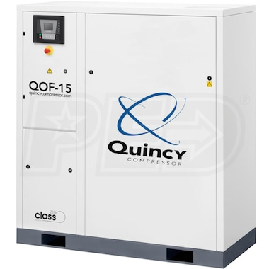 Quincy QOF 15-HP Oil-Free Tankless Scroll Compressor w/ Dryer (460V 3-Phase 116 PSI)