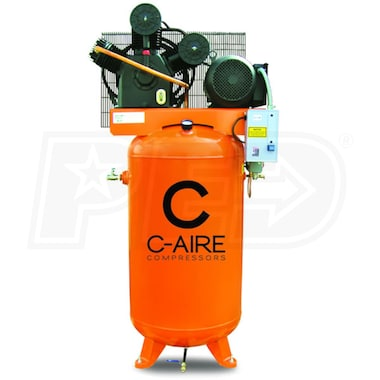 C-Aire 7.5-HP 80-Gallon Two-Stage Air Compressor (460V 3-Phase) Fully Packaged