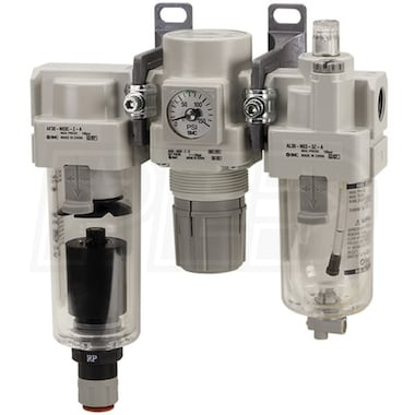 "SMC 1"" Filter Regulator Lubricator Air Preparation Combo w/ N.C. Auto Drain & Drain Cock (0-125 PSI)"