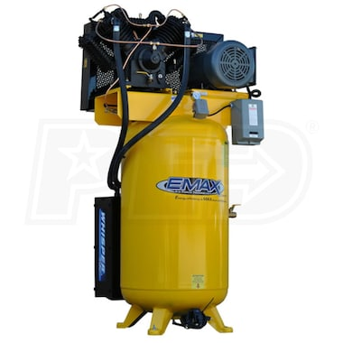 EMAX Industrial Plus 10-HP 80-Gallon Two-Stage Air Compressor w/ Silencer (208/230V 1-Phase)
