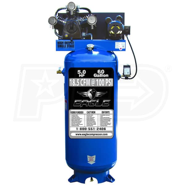 Eagle C5160v1 5 Hp 60 Gallon Single Stage Air Compressor